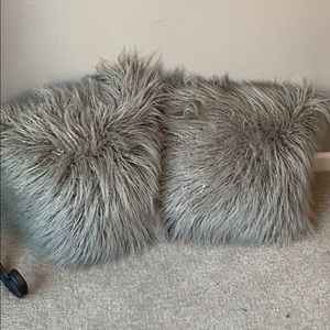 Two 20x20 fuzzy pillows from Pottery Barn.